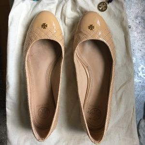 Tory Burch quilted leather ballet flats beige 7.5
